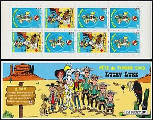 2003-FRANCE-Carnet-BC-3546a-JOURNEE-du-TIMBRE-LUCKY-LUKE-Stamp-day-Booklet-MNH