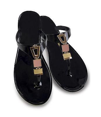 Damas Niñas Joya Gema Jelly Flip Flop Sandal Transparente Negro Talla 3 4 5 6 7 8