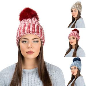 Aerusi Women Ladies Warm Winter Knit Beanie Fur Pom Pom Ball Hat ... a5b764448386