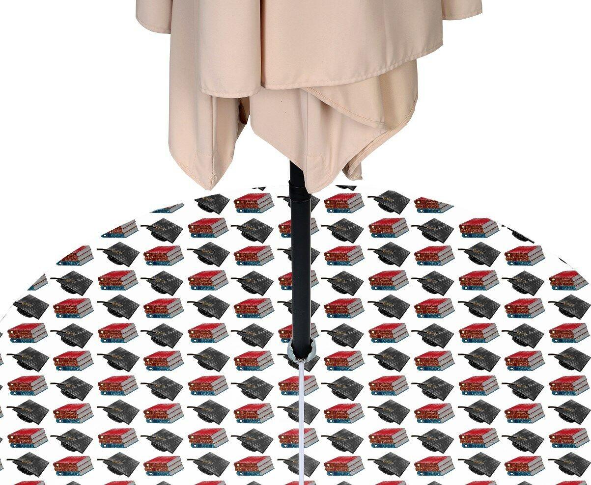 Grad Hats & Books Repellent Tablecloths w  Zipper & Umbrella Hole