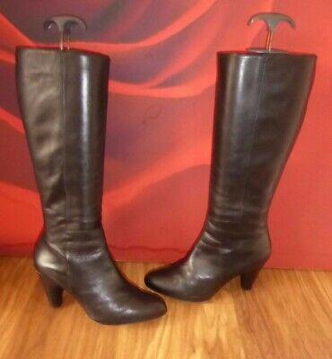 *80* M&s Autograph Black Leather Heel Boots Eu 38.5 Uk 5.5