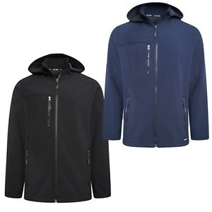 Mens-Soft-Shell-Full-Zip-Hooded-Outdoor-Jacket-Top-Size-M-L-XL-2XL-3XL-4XL-5XL