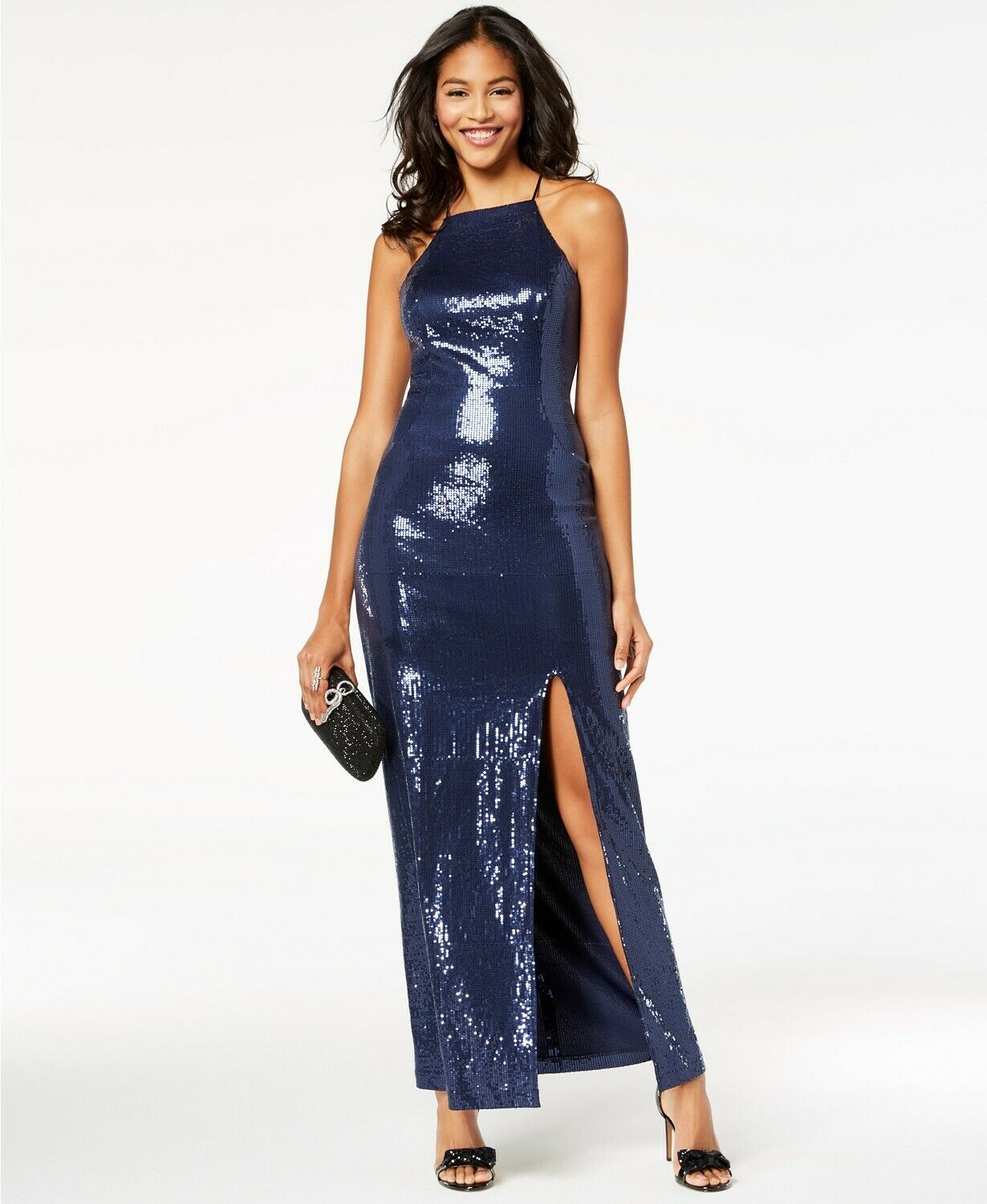 Teeze Me Juniors Sequined Illusion Gown Größe 1 Navy Blau Prom Dress  -NWT