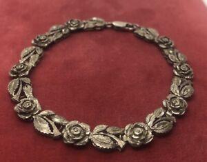 Vintage-Sterling-Silver-Bracelet-925-7-75-Rose-Flower