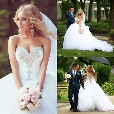 Sexy White Sweetheart Crystal Beaded Tull Lace-up Wedding Dress Bridal Ball Gown
