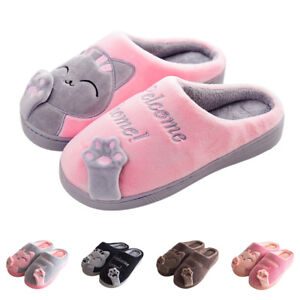 New-Women-Winter-Home-Slippers-Cartoon-Cat-Non-slip-Soft-Couple-Floor-Shoes-Size
