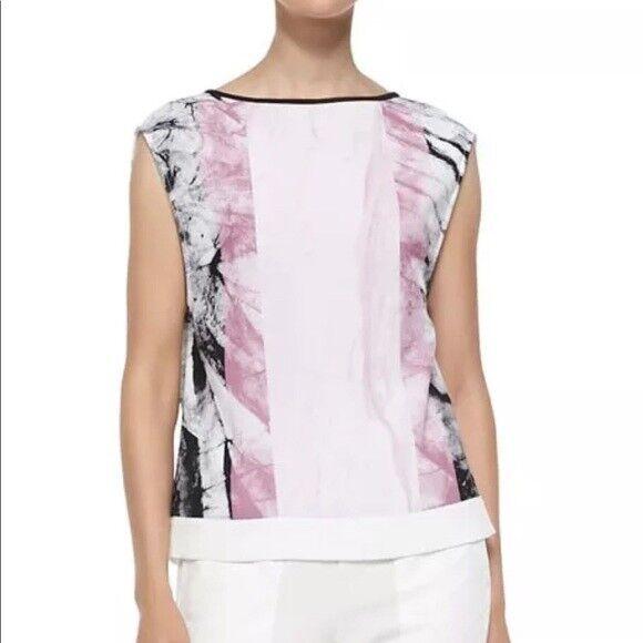 Helmut Lang damen Large Top Mason Crepe Marble Rosa schwarz Weiß Sleeveless