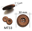 4 Large Coffee Dark Wooden Buttons 2 Hole 30 mm Flatback Sewing Craft UK SELLER