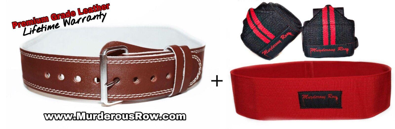 Murderous Row Powerlifting Belt (M) +  Hip Circle + Wrist Wraps -INSANE SQUAT SET  free shipping on all orders