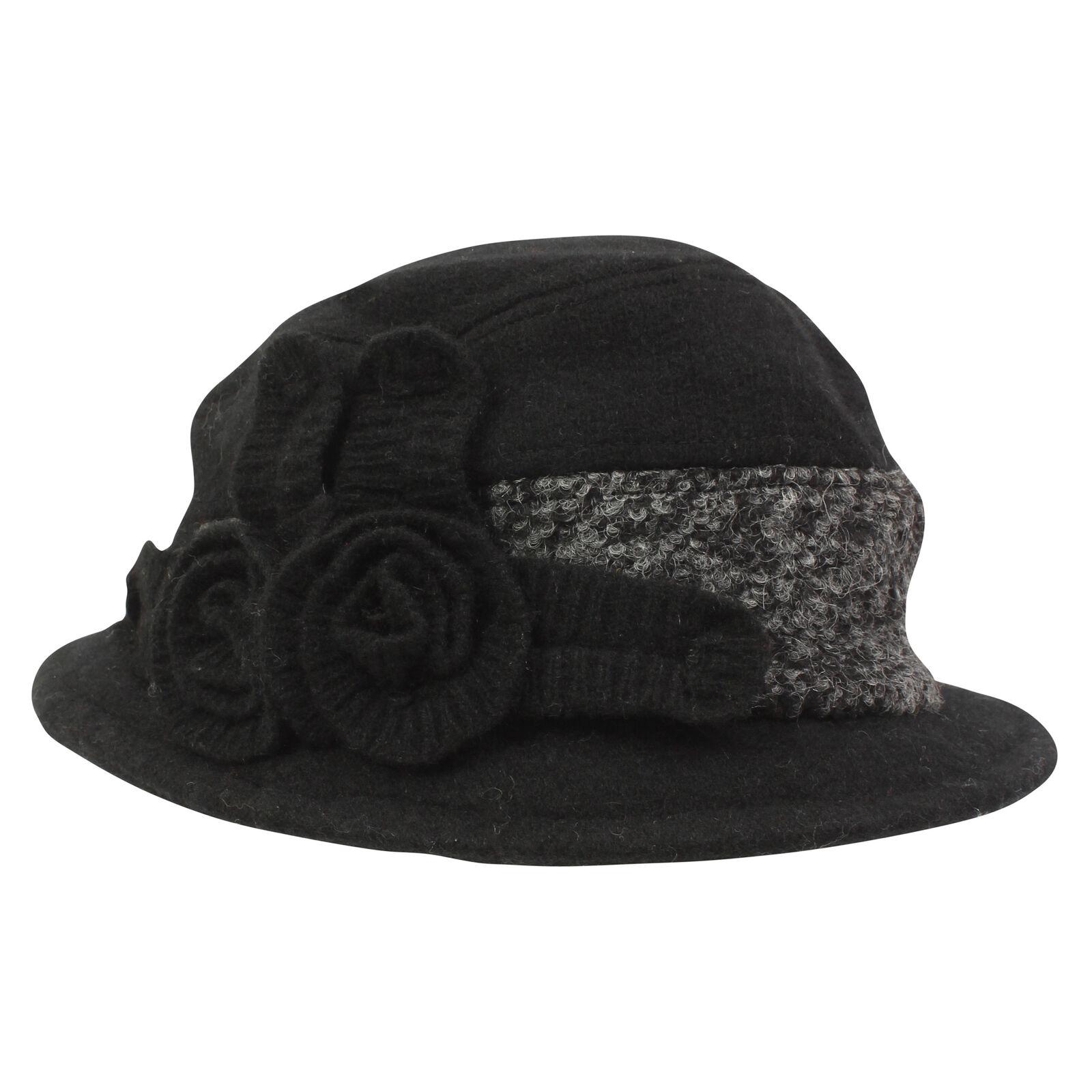 i-Smalls Women's Warm Fleece Lined Wool Felt Cloche Hat with Wool Tweed Band