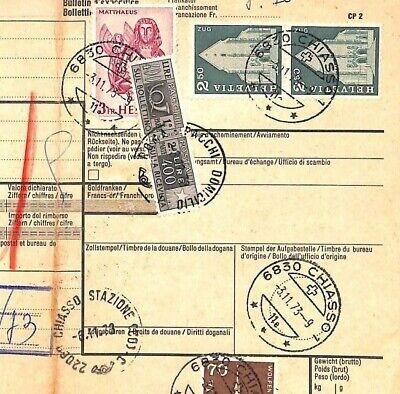 Az303 1973 Switzerland High Values Chiasso *insured Mail* Card Italy Pts Fijn Vakmanschap
