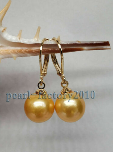 10-11 mm AAA parfait South Sea Gold Pearl Boucles D/'oreilles Or 14K