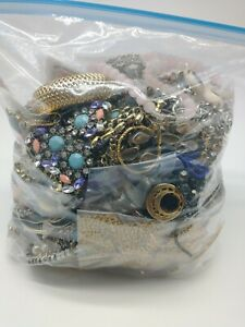 Jewelry Lot Mostly Wearable Vintage To Now Harvest Craft Upcycle Resale 6.2lbs
