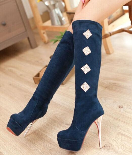 Stivaletti bottes coscia  tacco spillo 13 cm bleu eleganti pelle sintetica 9110