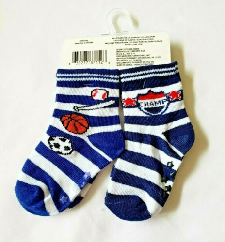 Toddler Socks Boys 2 to 4T Skid Resistant 8 pair Fashion Socks Polyester Spandex