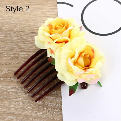 Womens Girls Double Silk Artificial Rose Flower Hair Comb Clip Wedding Bridal