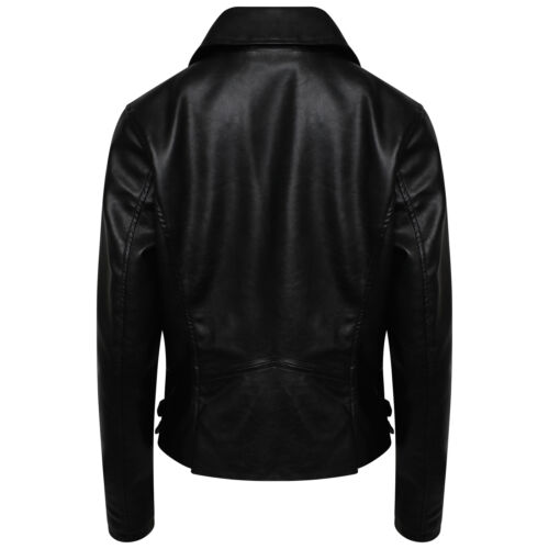 New Ladies Women/'s Leather Look PU Jacket With Gold Style Trims Sizes 6-24