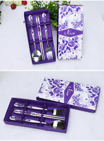Chinese Stainless Chopstick Set With Fork And Spoon Packed In A Wrapped Gift Box