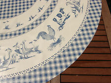 """TABLECLOTH CO 60"""" farmyard animals wipe clean wipeable oilcloth vinyl  ROUND"""