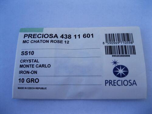 full pkg 1440 Preciosa 12 facet MC flatbacks in 10ss Monte Carlo//Iron on