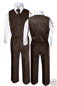 4pc-Boy-Easter-Wedding-Formal-Party-Vest-Suit-D-Brown-S-M-L-XL-2T-3T-4T-5-6-7