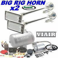 2 X Big Rig Truck Air Horn Kit W/ Viair 275c Compressor 150psi 1 G. System Mack