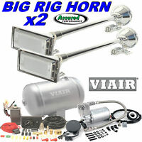 2 X Big Rig Truck Air Horn Kit W/ Viair 275c Compressor 150psi 1 G. System Mack
