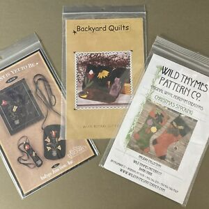 Lot of 3 Wool Applique Patterns Christmas Stocking Rotary Case Sampler Purse etc