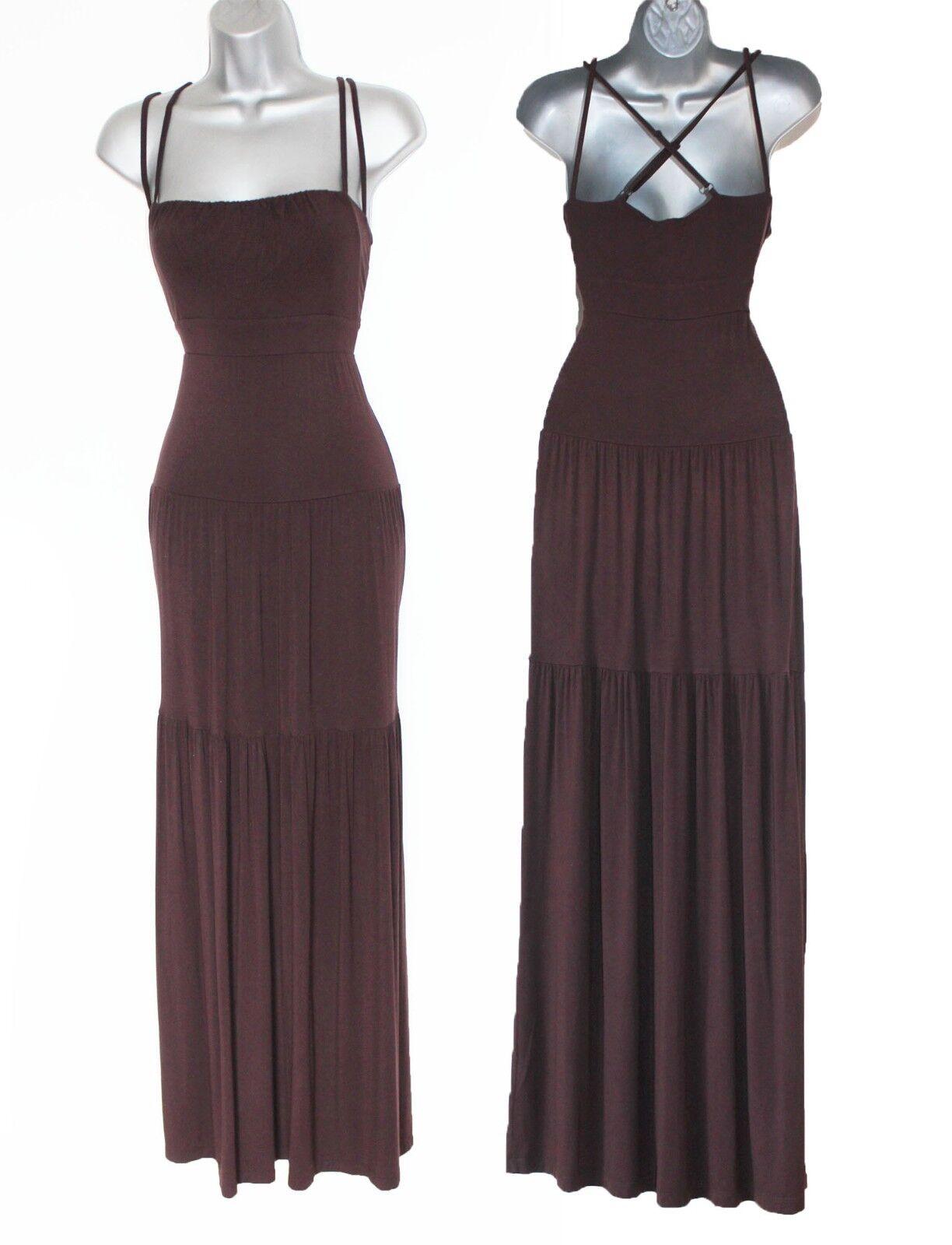 KAREN MILLEN braun Strappy Ruffled Fluid Fluid Fluid Summer Day Evening Maxi Dress 12 EU 40 586dc1