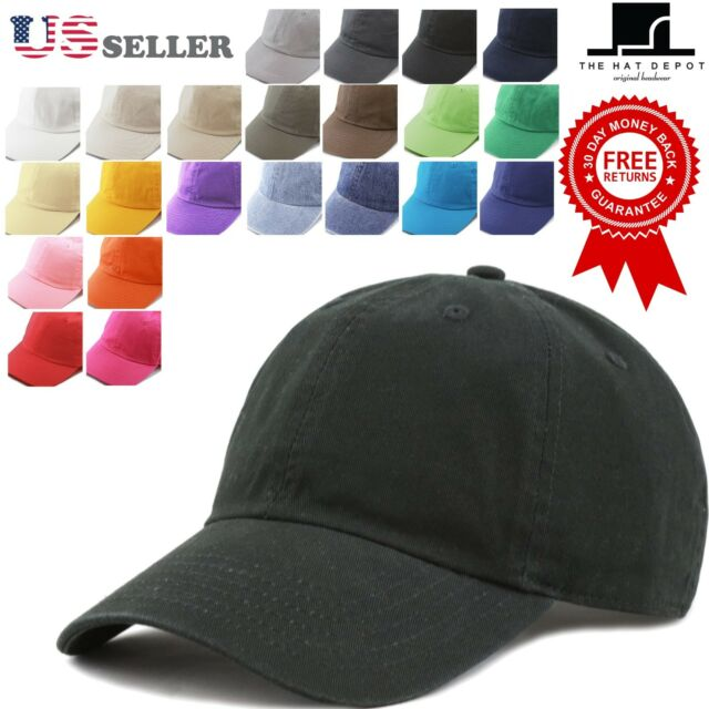 Cotton Hat - The Hat Depot Plain Washed Cotton & Denim Low Profile Baseball Cap