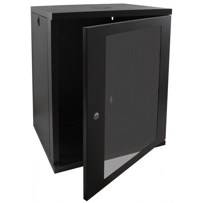 "18U 19"" 450MM Deep Black Wall Mounted Data Cabinet Patch"