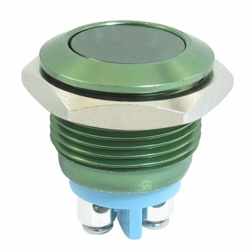 19mm GREEN Momentary Anti Vandal Button Stainless Steel Metal Push Button Switch
