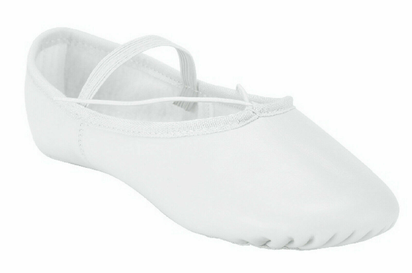 Leather Ballet Shoes Full Sole with Attached Elastics White