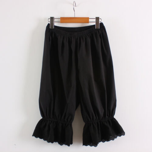 Womens Cotton Black Lace Bloomers Pettipants victorian Ladies Pantaloons Under