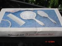Vintage Vanity Dressing Table Set Silver Plated