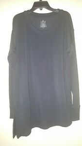 Cuddl-Duds-Women-039-s-Top-Sz-Med-Ultra-Soft-Comfort-Long-Sleeve-Black-Tunic