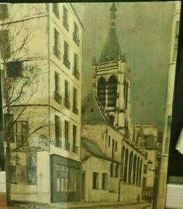 Vintage Church of St Severin by Maurice Utrillo Reproduction on Canvas Unframed