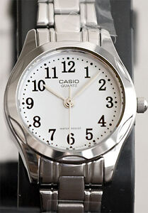 Casio-LTP-1275D-7B-Ladies-Analog-Watch-Stainless-Steel-White-Casual-Dress-New