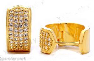 Pair-Gold-Micro-CZ-Crystal-Bling-Ear-Stud-Studs-Hoop-Earring-Earrings