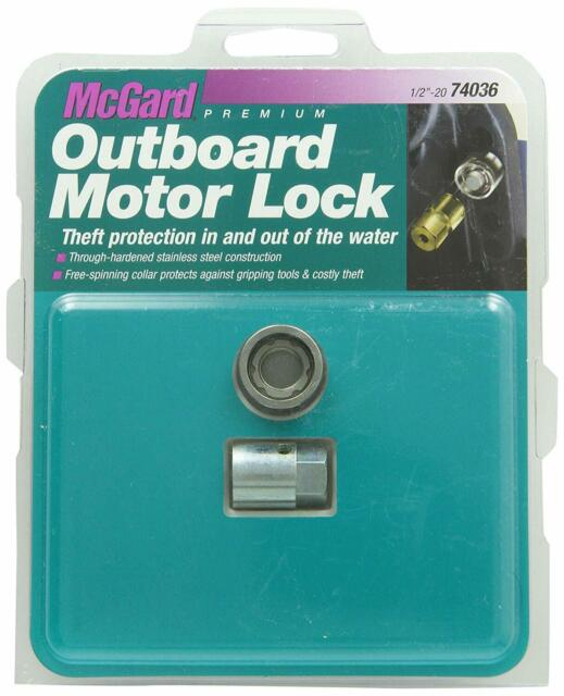 McGard 74036 Marine Single Outboard Motor Lock Set, 1/2-Inch- 20 Thread Size, Me