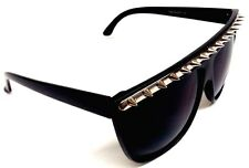 BLACK SILVER METAL SPIKES FLAT TOP SQUARE SUNGLASSES STUDS OVERSIZED PUNK GOTH