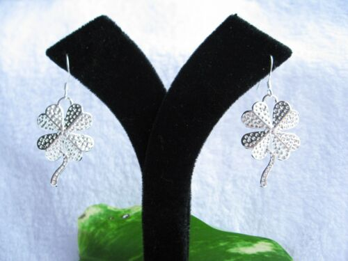 925 Stamped Sterling Silver Four-Leaves Clover Drop Earrings Jewellery Gifts