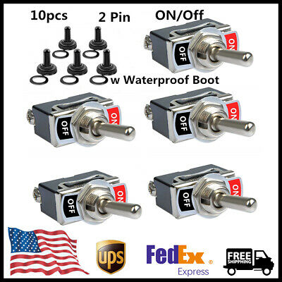 Waterproof Boot Cover 10X SPST Heavy Duty 20A 125V ON//OFF Rocker Toggle Switch