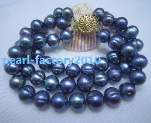 NATURAL 9-10MM  SOUTH SEA GENUINE black blue PEARL BRACELET 14K  CLASP