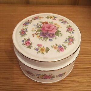 Vintage-Sadler-Trinket-Dish-Sugar-Bowl-Rose-Design-Lidded-2-5-Inches