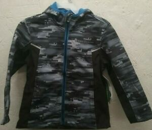 Free Country Kids Soft Shell Hooded Full Zip Jacket Boys Black Camo MSRP$80
