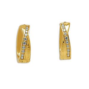 14K-Yellow-Gold-Cubic-Zirconia-Huggie-Earrings