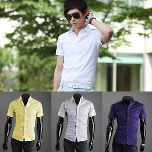 CO-Men-039-s-Fashion-Summer-Cool-Turn-Down-Collar-Solid-Slim-Fit-Short-Sleeve-Shirt