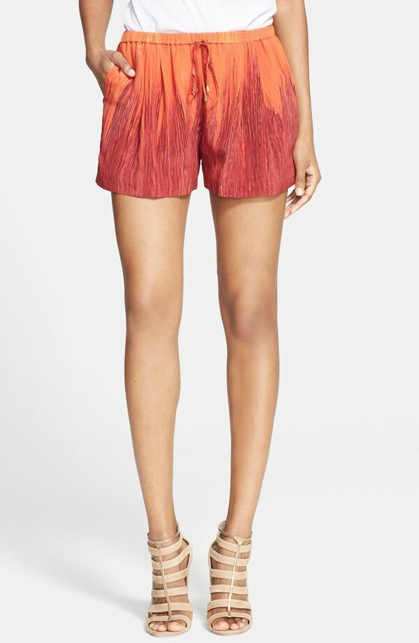 NWT  Haute Hippie  'Summer'  Ombre Silk Shorts in orange multi  size XS