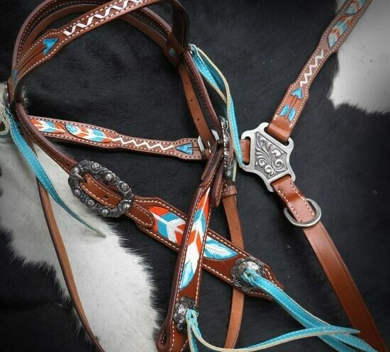 Showman Leather Bridle &  Breast Collar Set w  TEAL & orange Arrows & Feathers     save up to 70%